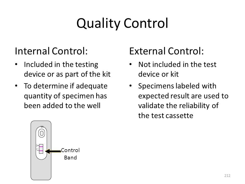Quality Control Internal Control: External Control: