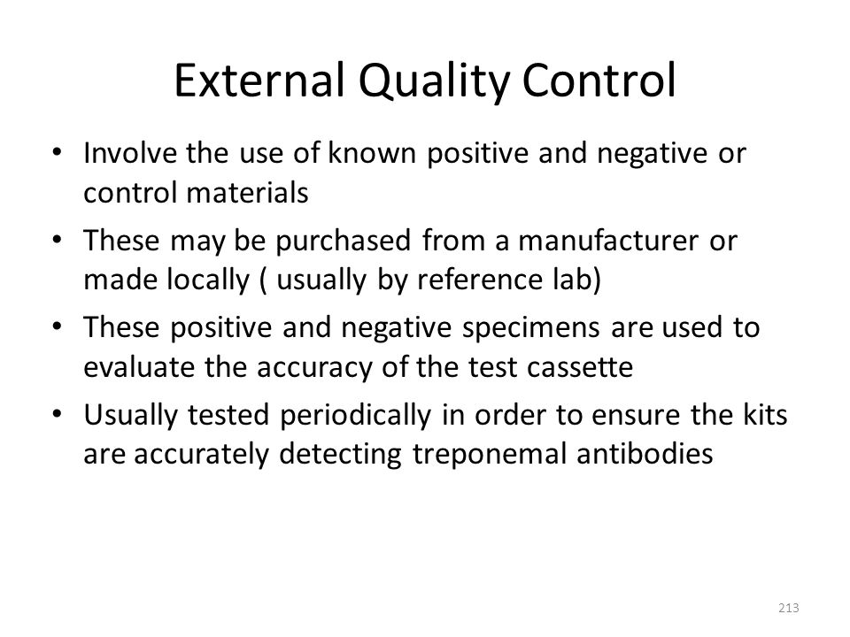 External Quality Control