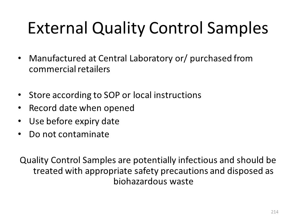 External Quality Control Samples