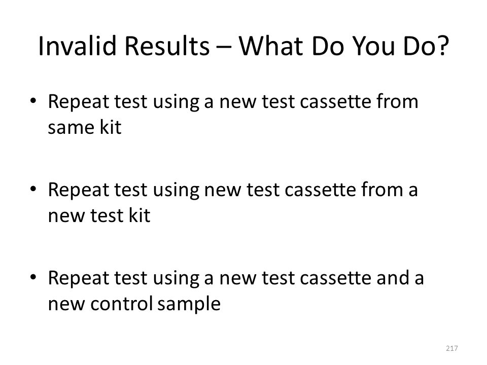 Invalid Results – What Do You Do