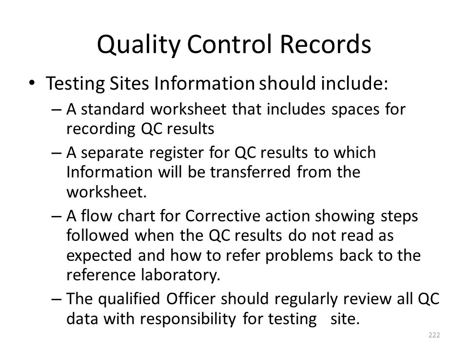 Quality Control Records