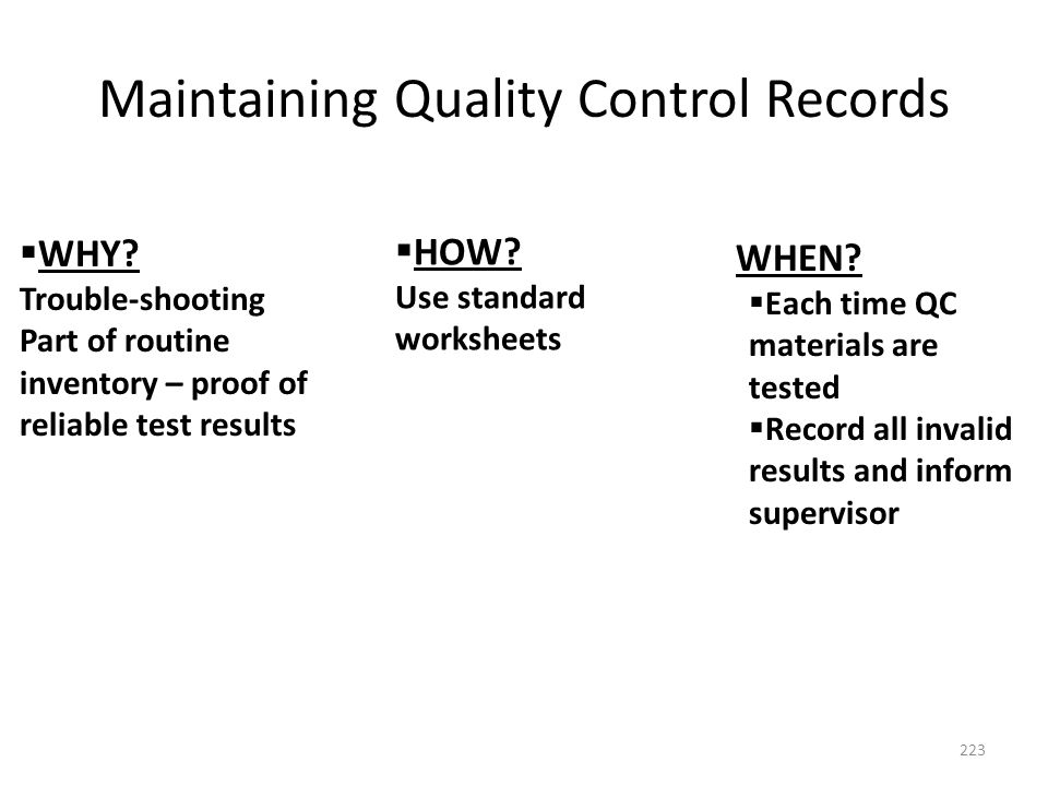 Maintaining Quality Control Records