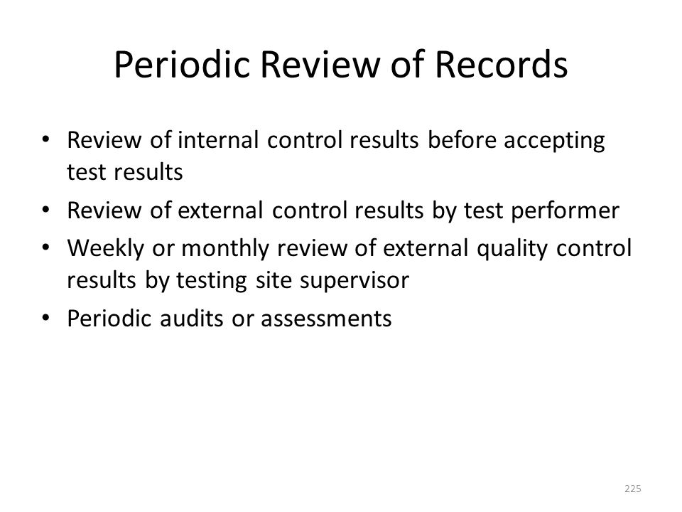Periodic Review of Records