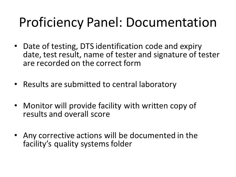 Proficiency Panel: Documentation