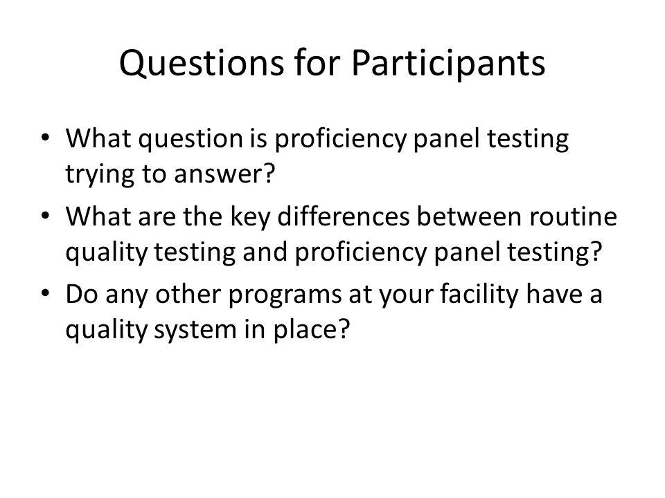 Questions for Participants