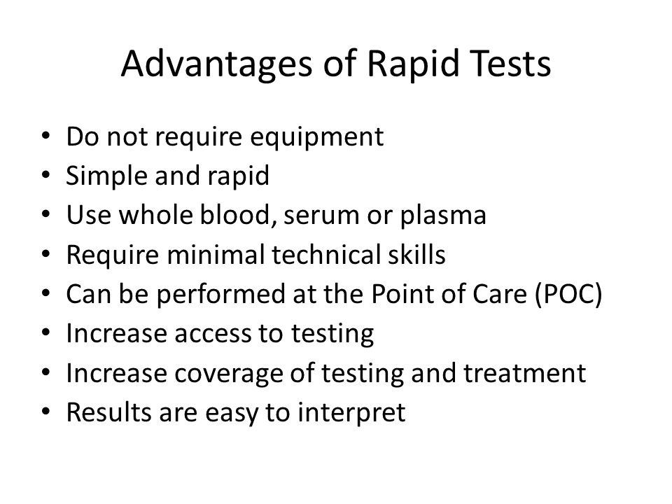 Advantages of Rapid Tests