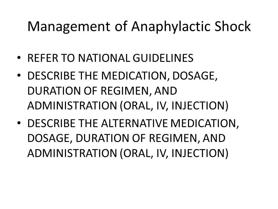 Management of Anaphylactic Shock