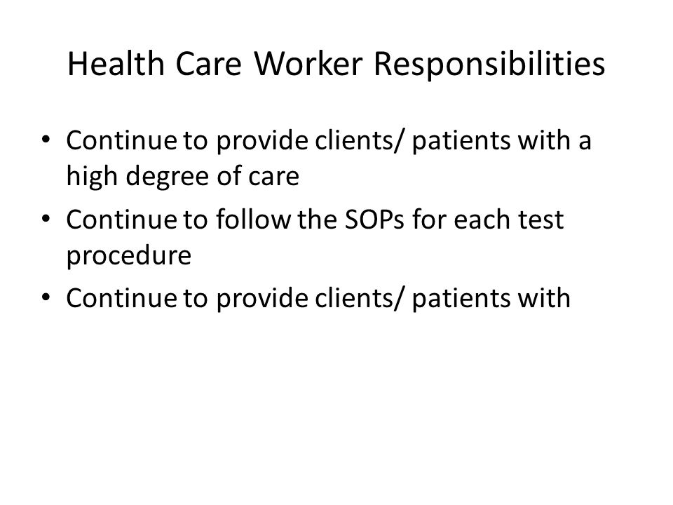 Health Care Worker Responsibilities