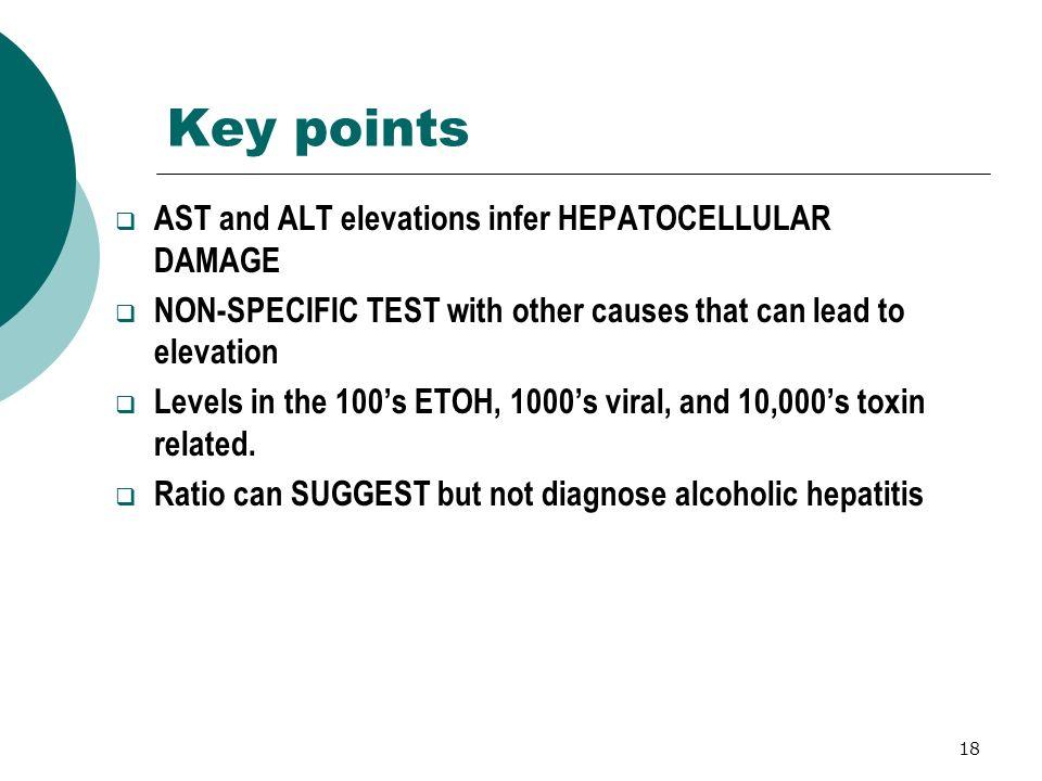 Key points AST and ALT elevations infer HEPATOCELLULAR DAMAGE