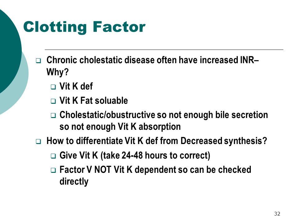 Clotting Factor Chronic cholestatic disease often have increased INR– Why Vit K def. Vit K Fat soluable.