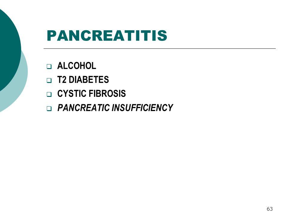 PANCREATITIS ALCOHOL T2 DIABETES CYSTIC FIBROSIS