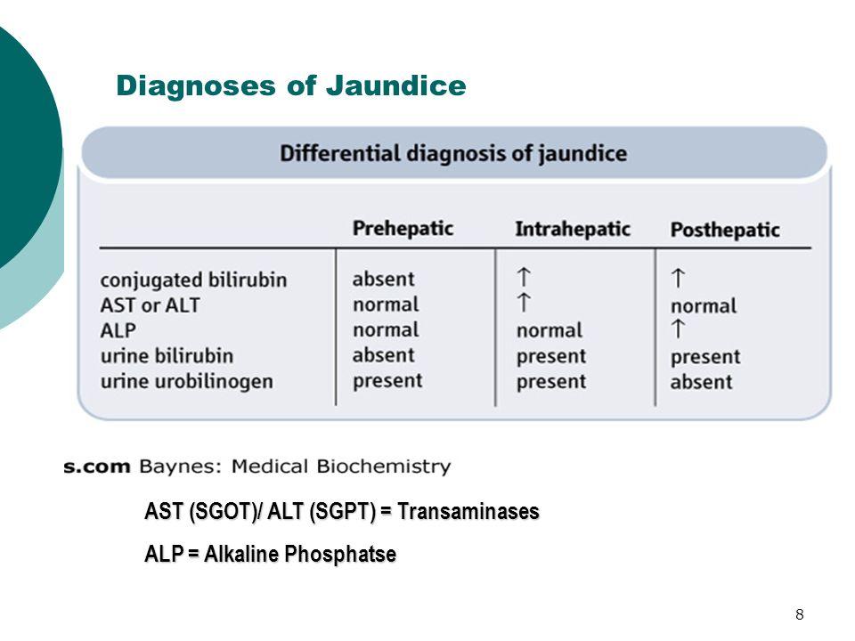 Diagnoses of Jaundice AST (SGOT)/ ALT (SGPT) = Transaminases