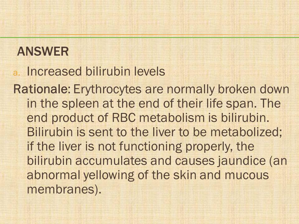Answer Increased bilirubin levels.
