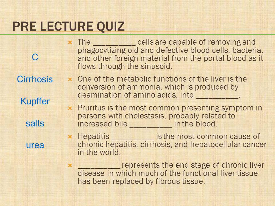 Pre lecture quiz C Cirrhosis Kupffer salts urea