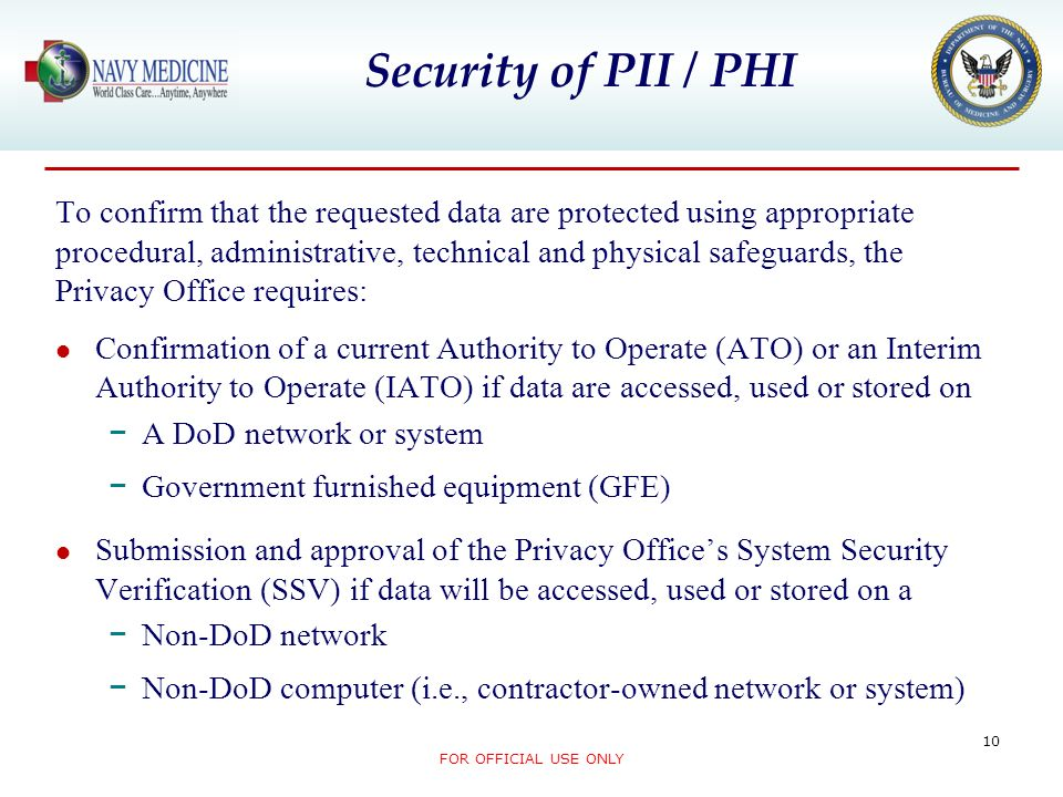 Security of PII / PHI