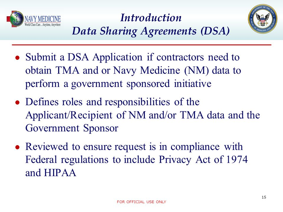 Introduction Data Sharing Agreements (DSA)