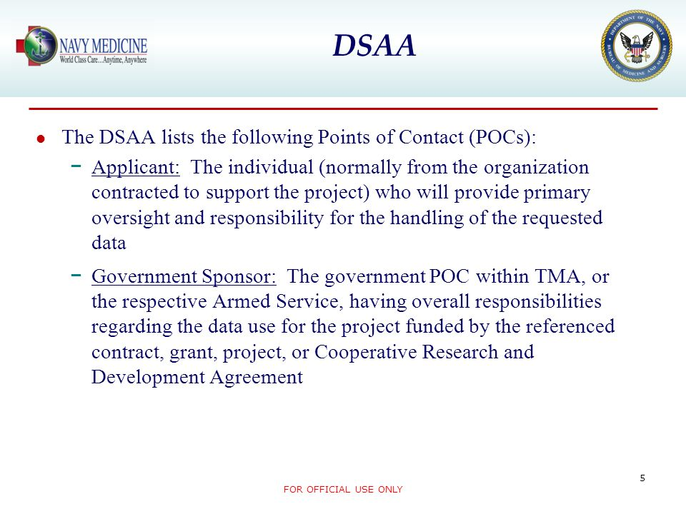 DSAA The DSAA lists the following Points of Contact (POCs):