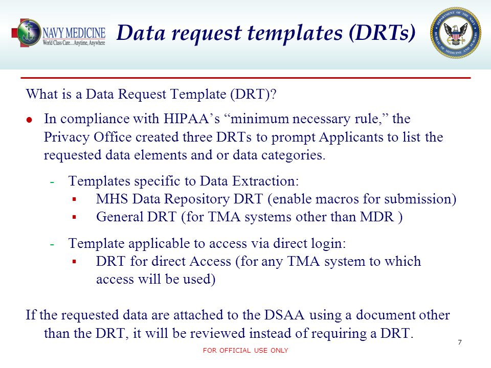 Data request templates (DRTs)