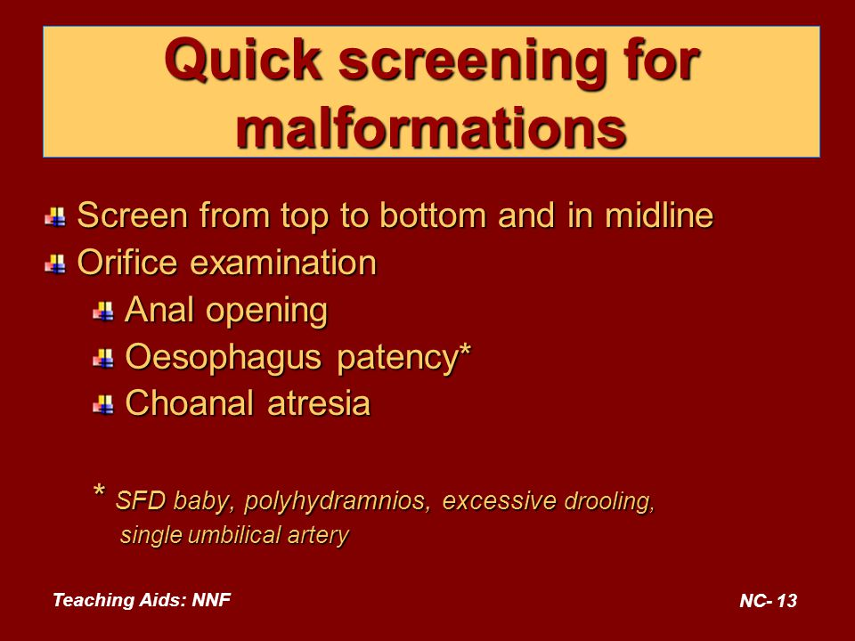 Quick screening for malformations