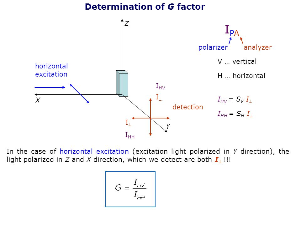 IPA Determination of G factor Z polarizer analyzer V … vertical