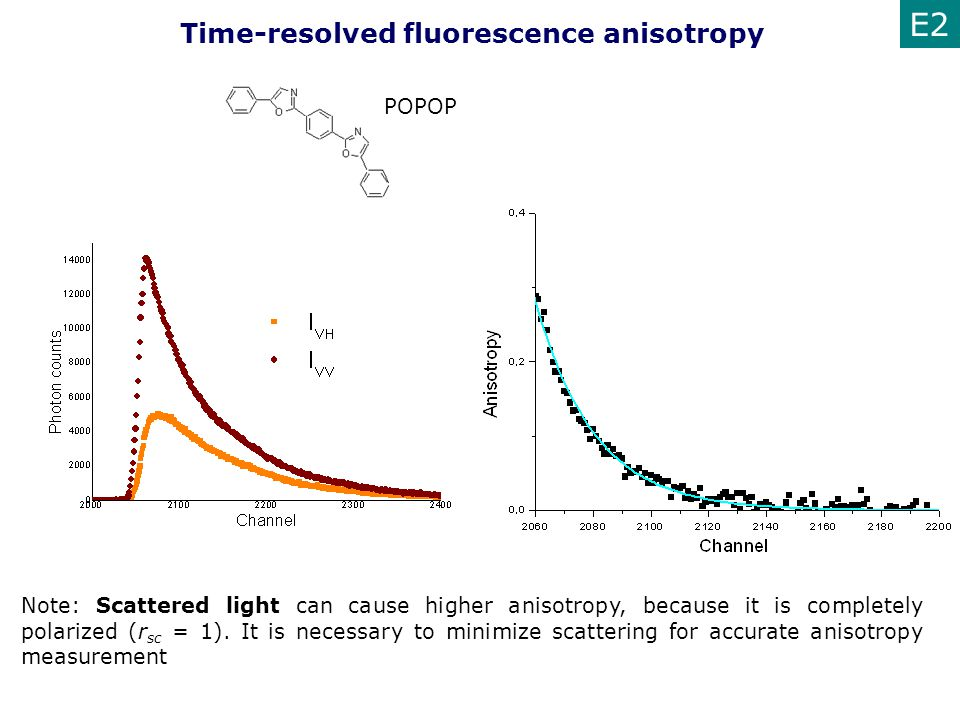 E2 Time-resolved fluorescence anisotropy POPOP