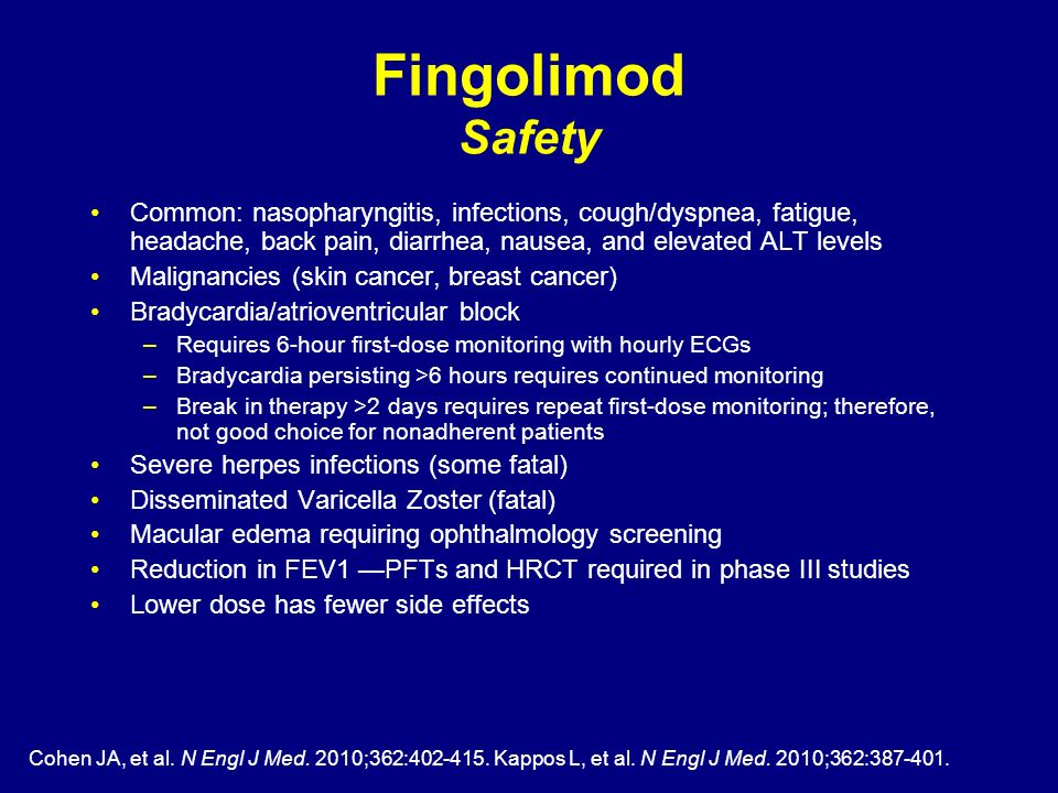 Fingolimod Safety Common: nasopharyngitis, infections, cough/dyspnea, fatigue, headache, back pain, diarrhea, nausea, and elevated ALT levels.