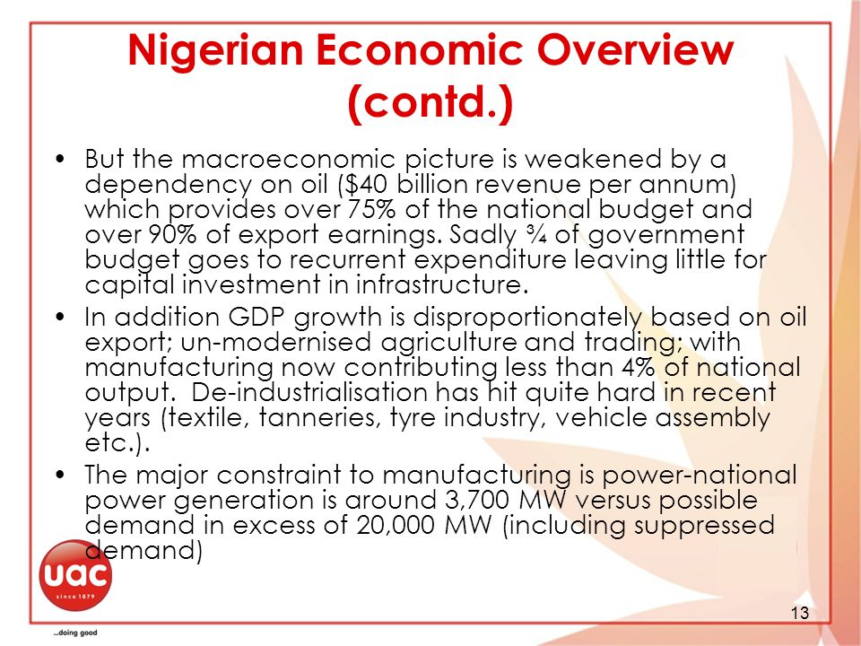 Nigerian Economic Overview (contd.)