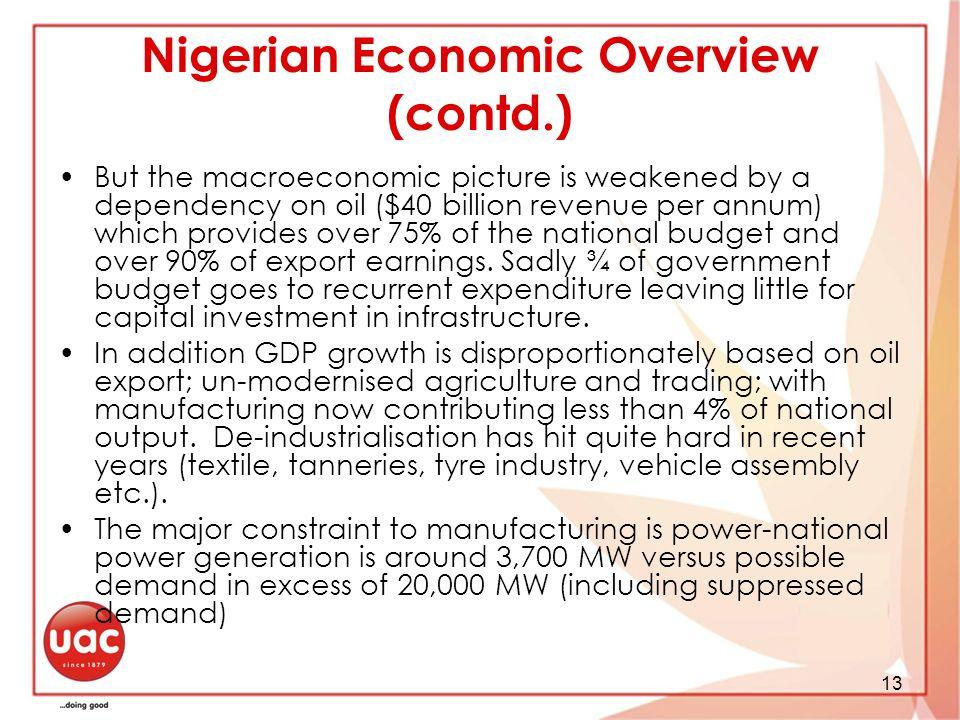 Nigerian Economic Overview (contd.)