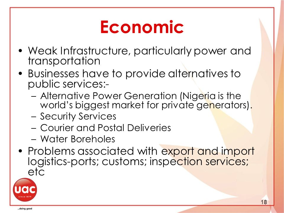 Economic Weak Infrastructure, particularly power and transportation