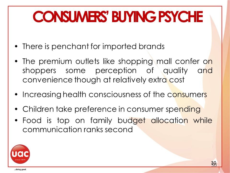 CONSUMERS' BUYING PSYCHE