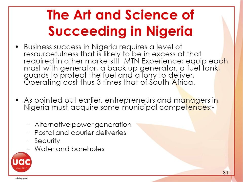 The Art and Science of Succeeding in Nigeria