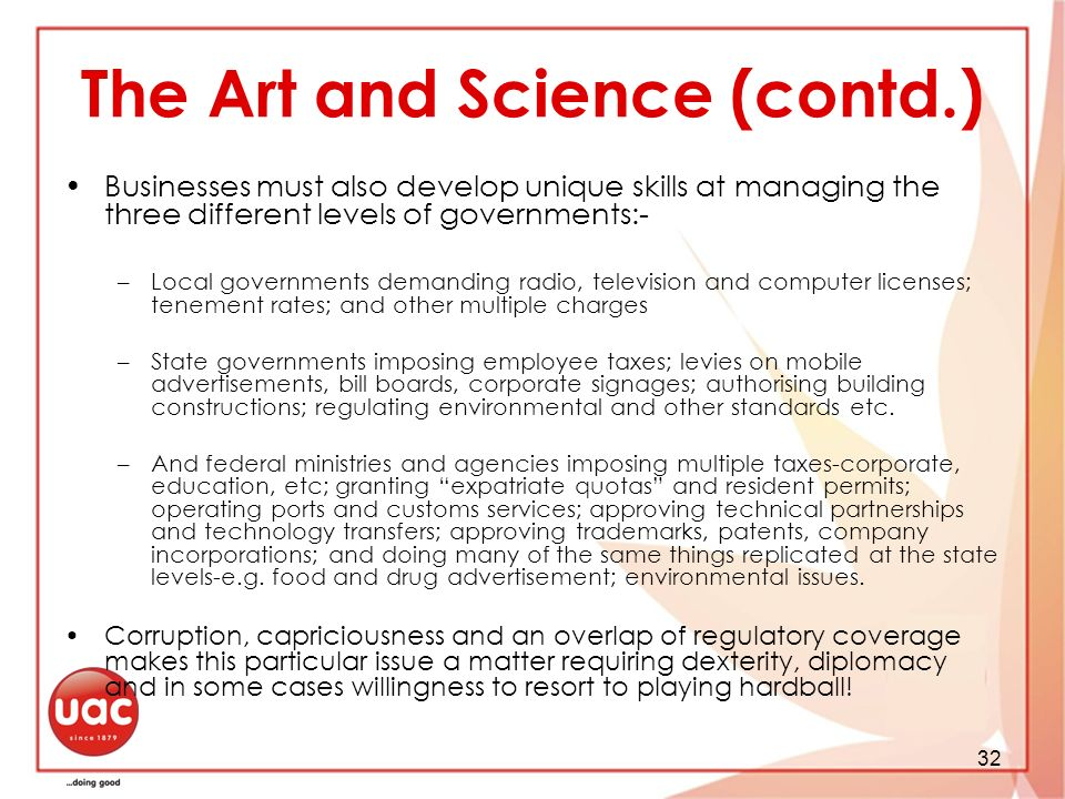 The Art and Science (contd.)