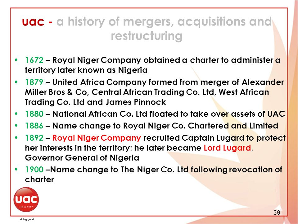 uac - a history of mergers, acquisitions and restructuring