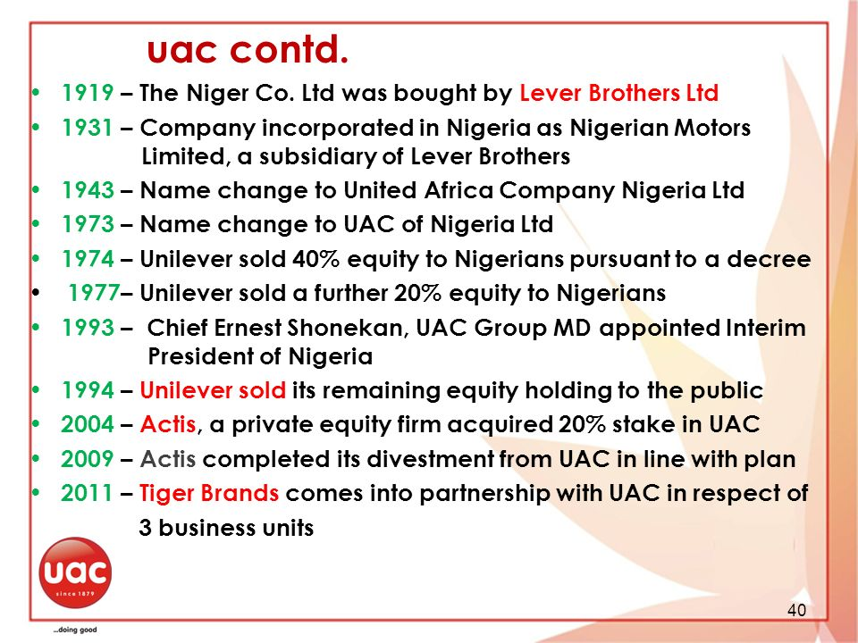 uac contd. history …..the story continues
