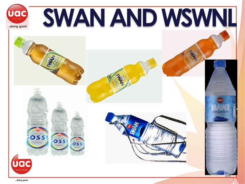 SWAN AND WSWNL SWAN is the pioneer bottled water brand in Nigeria 46