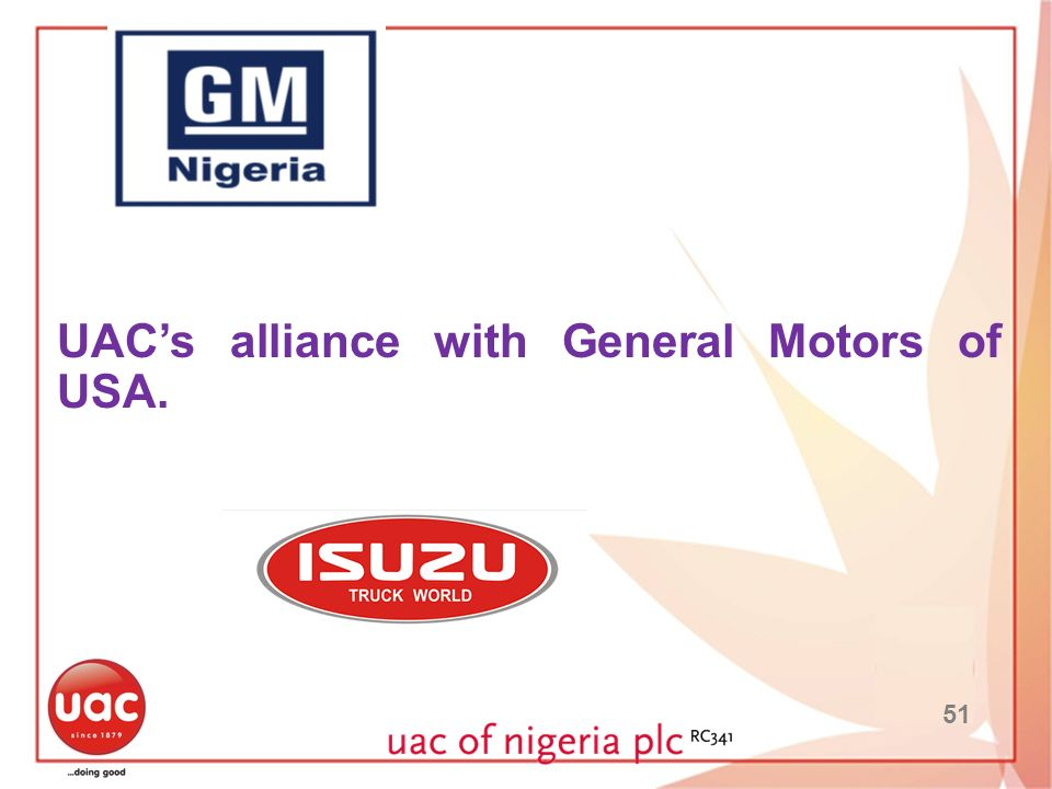 UAC's alliance with General Motors of USA.