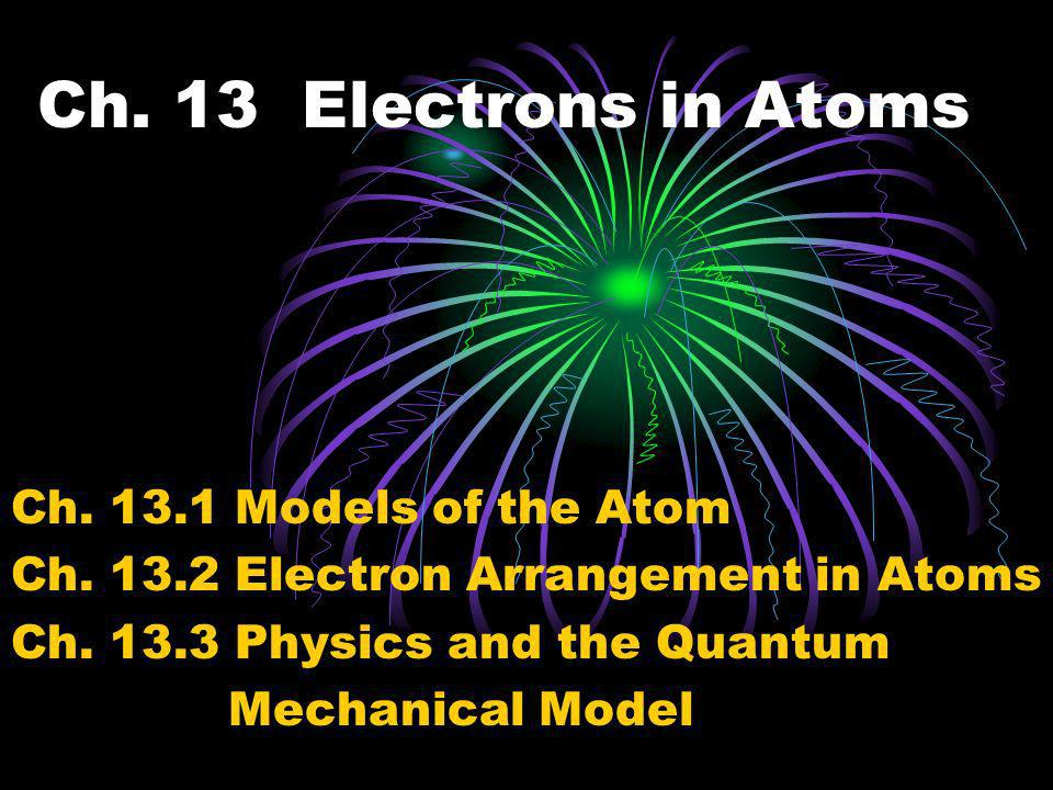 Ch. 13 Electrons in Atoms Ch. 13.1 Models of the Atom
