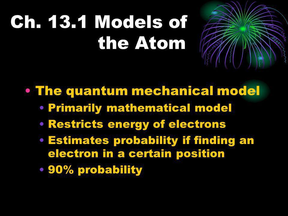 Ch. 13.1 Models of the Atom The quantum mechanical model