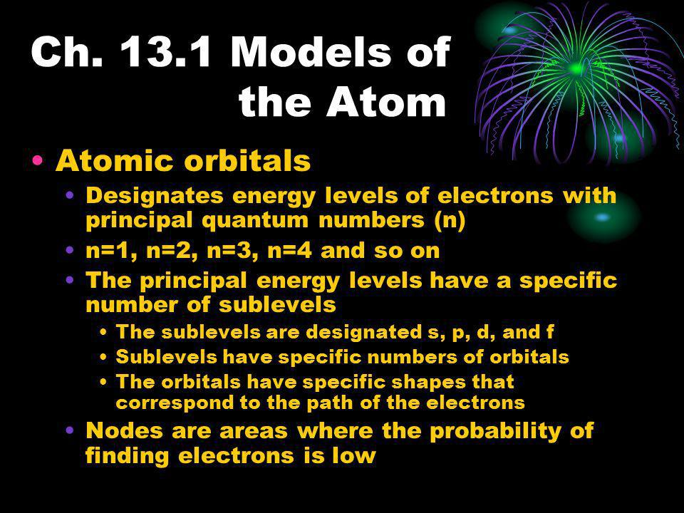 Ch. 13.1 Models of the Atom Atomic orbitals