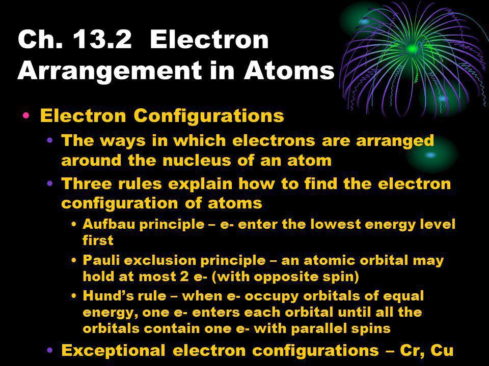 Ch. 13.2 Electron Arrangement in Atoms