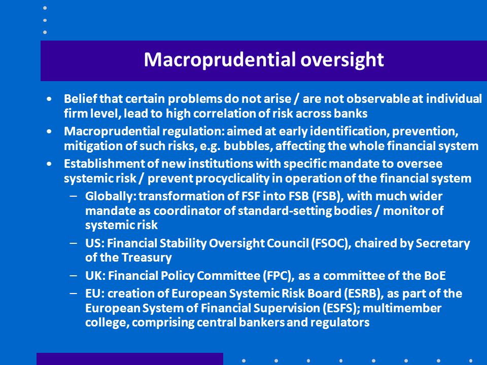 Macroprudential oversight