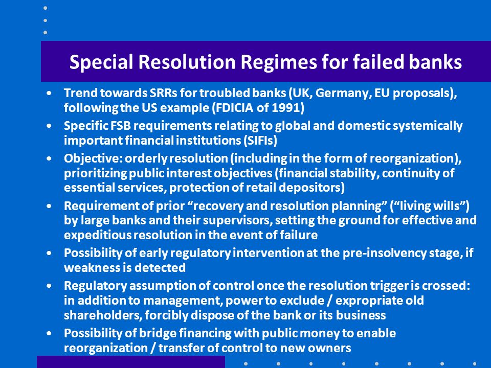 Special Resolution Regimes for failed banks
