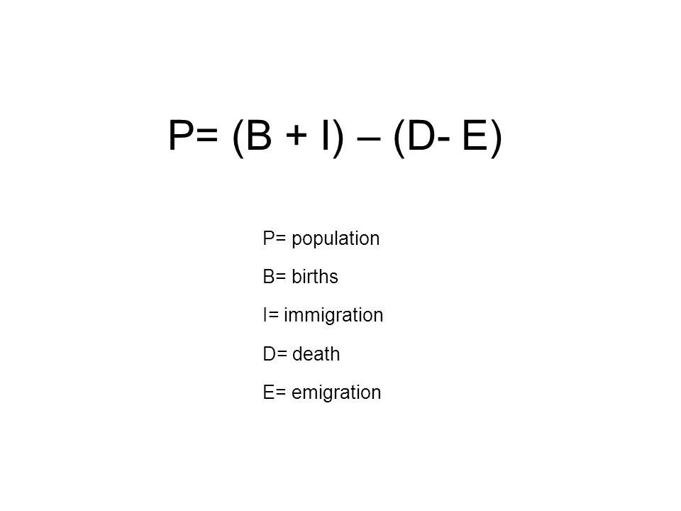 P= population B= births I= immigration D= death E= emigration