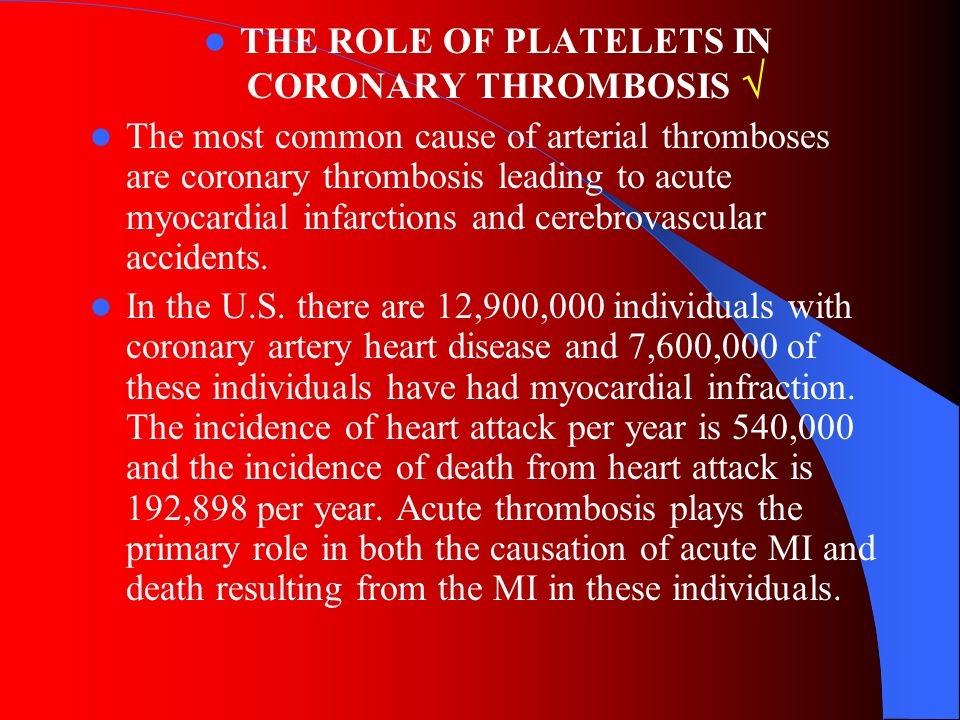 THE ROLE OF PLATELETS IN CORONARY THROMBOSIS 