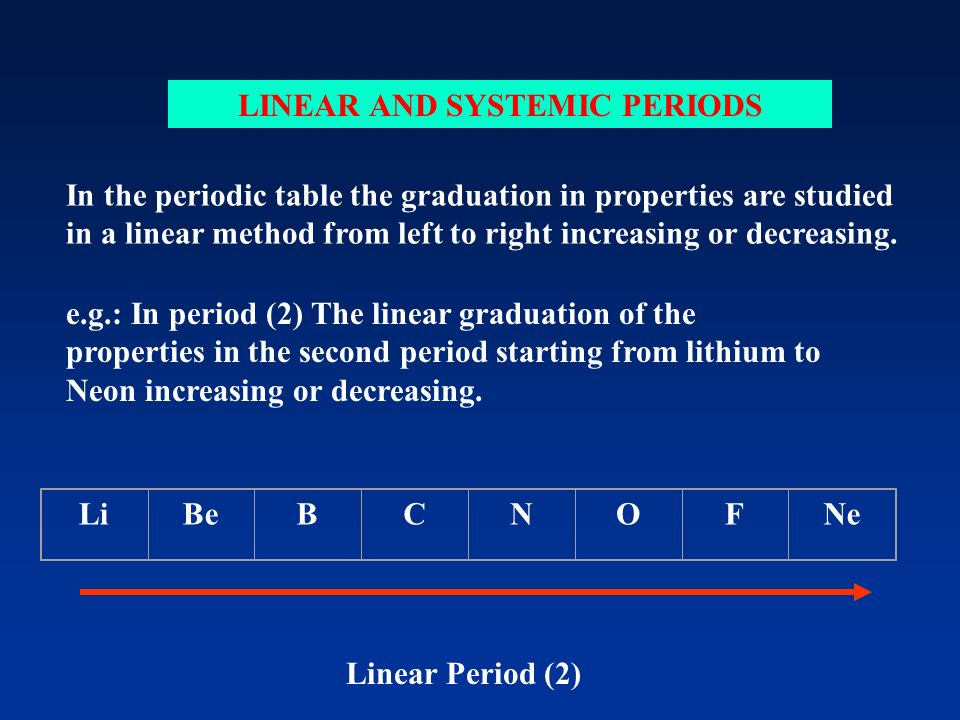 LINEAR AND SYSTEMIC PERIODS