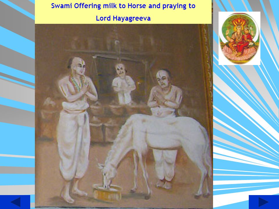 Swami Offering milk to Horse and praying to