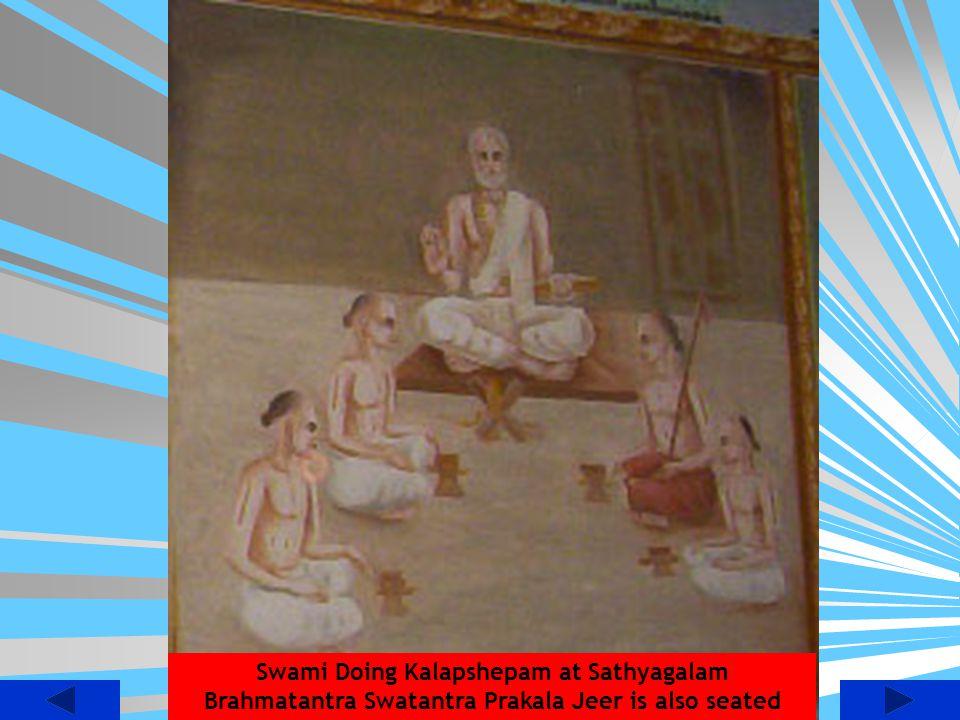 Swami Doing Kalapshepam at Sathyagalam Brahmatantra Swatantra Prakala Jeer is also seated