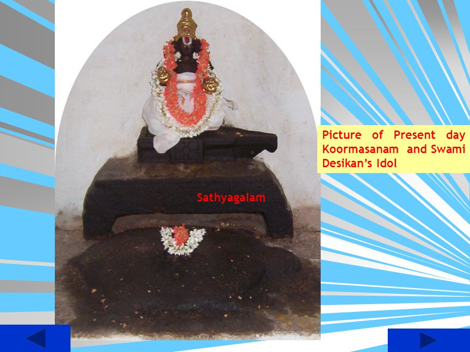 Picture of Present day Koormasanam and Swami Desikan's Idol