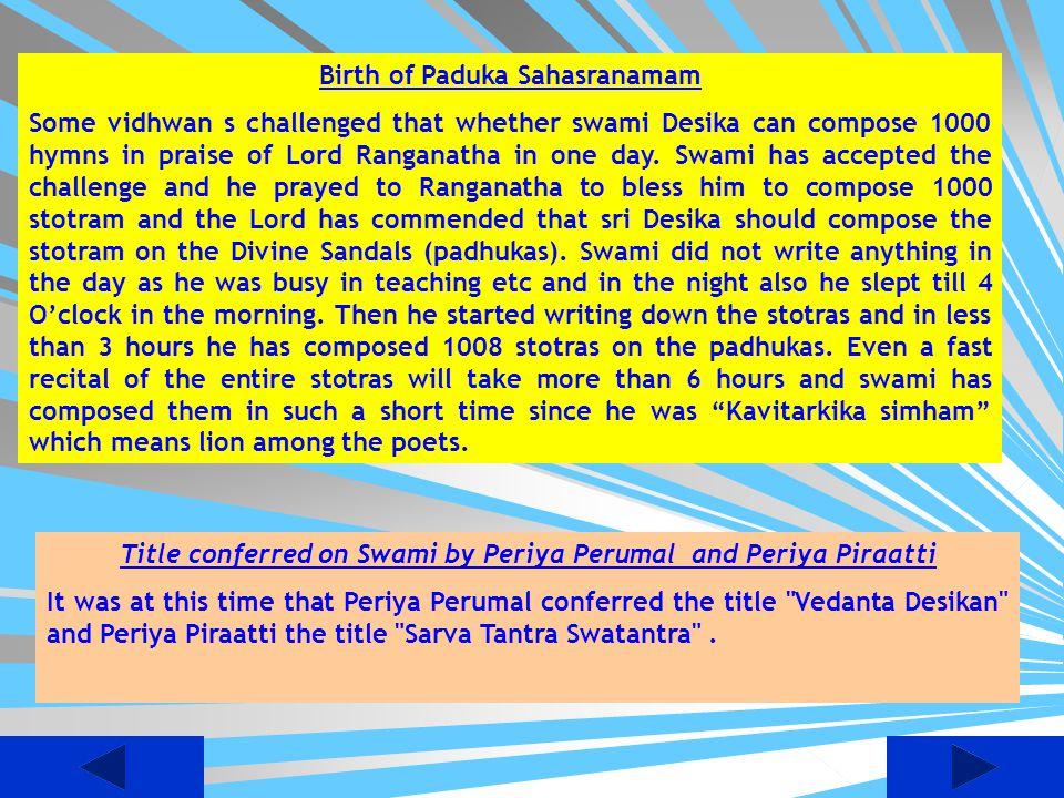 Birth of Paduka Sahasranamam