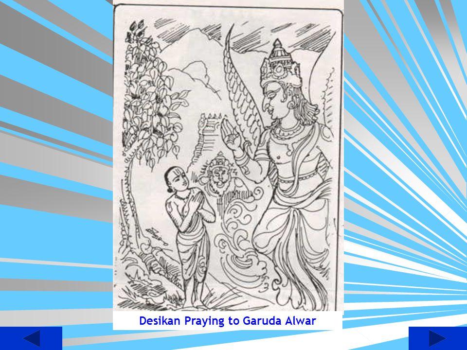 Desikan Praying to Garuda Alwar